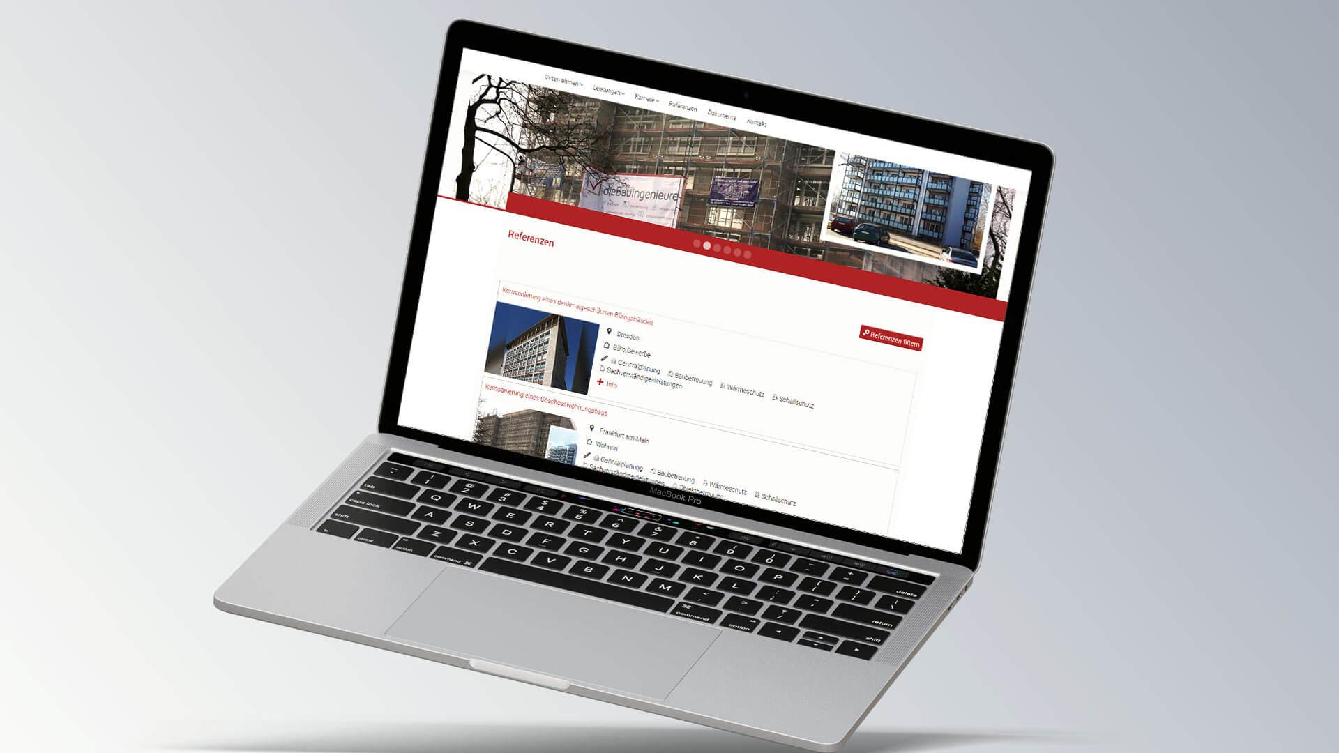 dieBauingenieure Internetseite Browseransicht