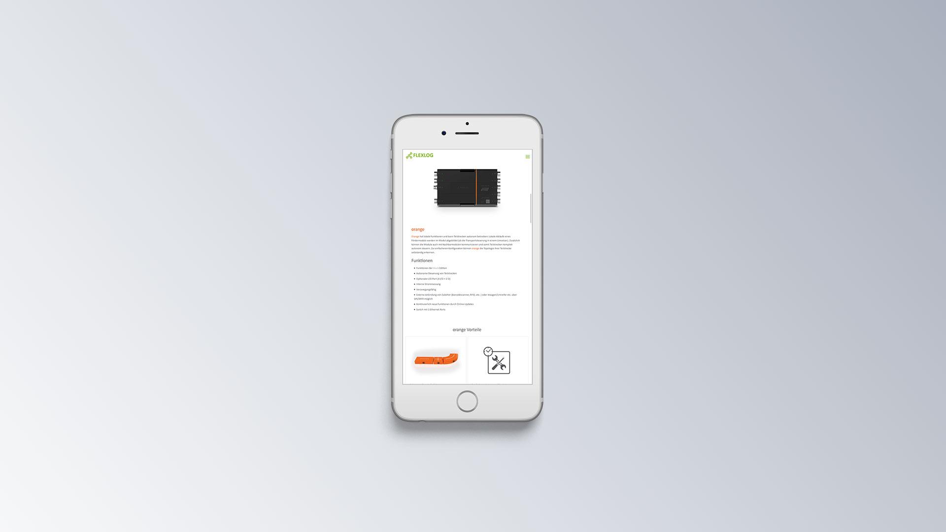 Flexlog Internetseite mobile Ansicht