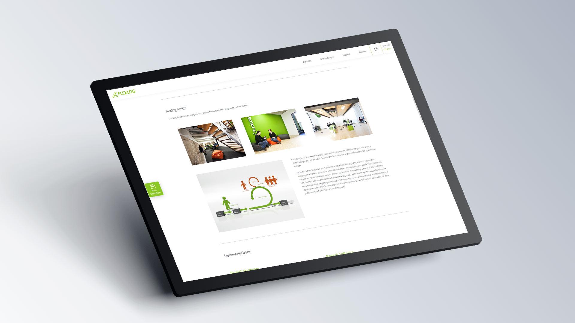 Flexlog Internetseite Browseransicht