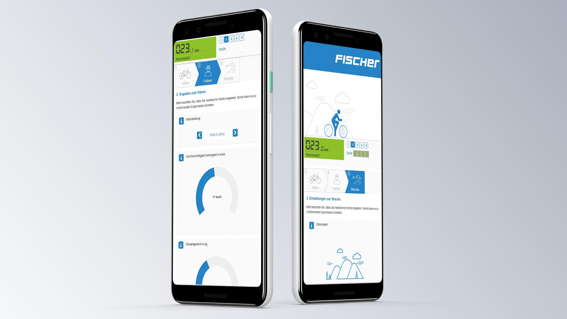Fischer Konfigurator Reichweite eBike Browseransicht mobilde Ansicht