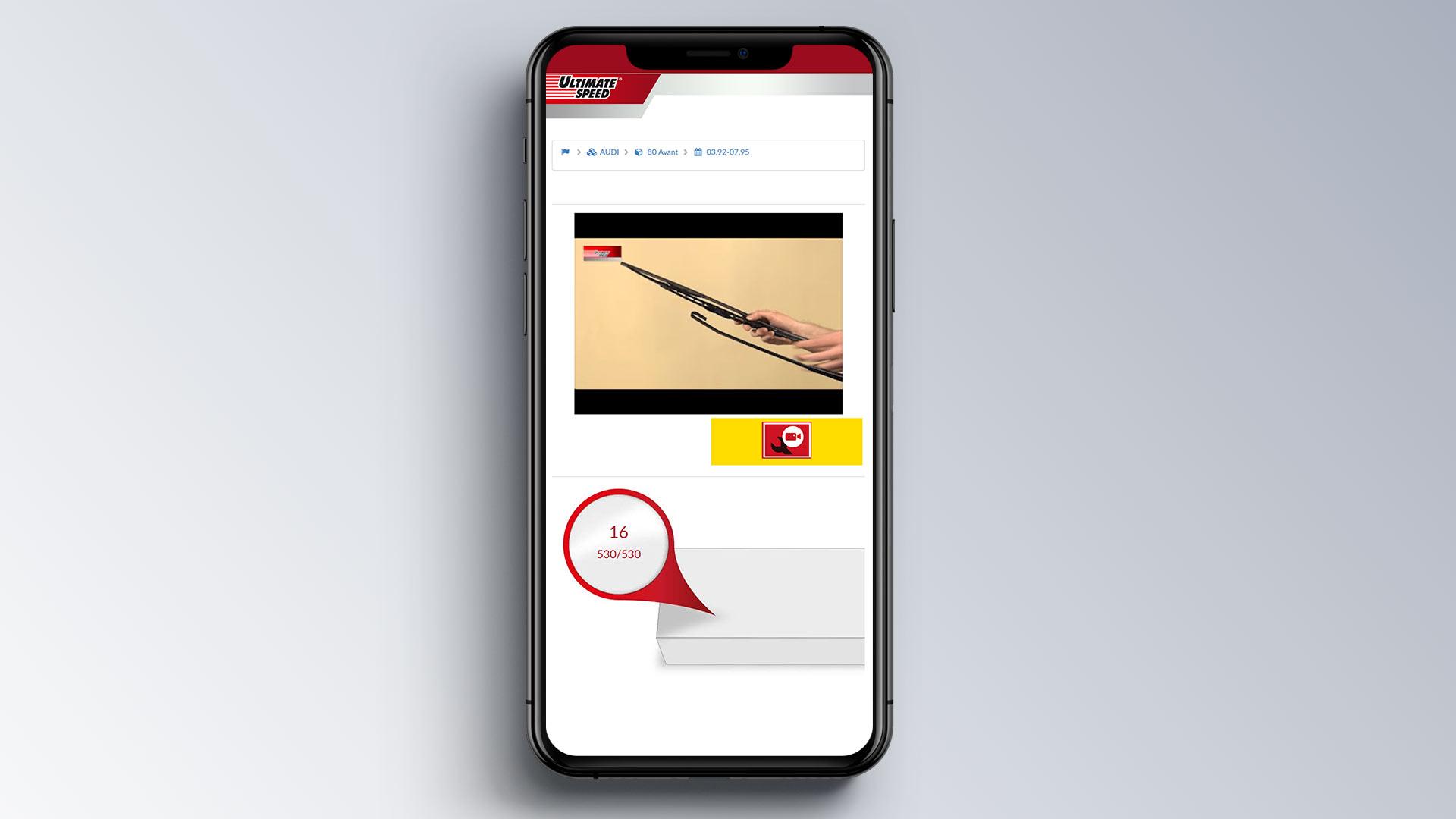Ultimate Speed Wischerkonfigurator Konfigurator Internetseite mobile Ansicht