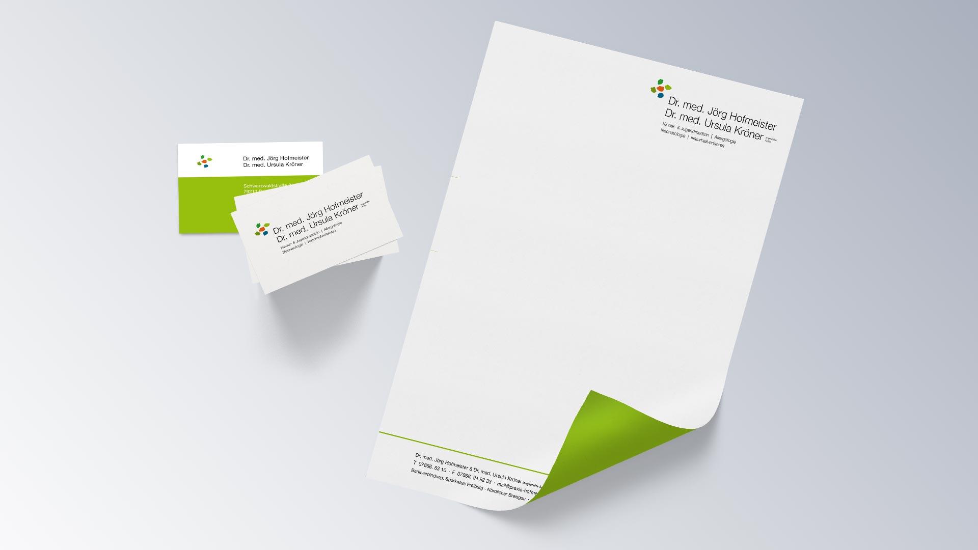 Praxis Dr. Jörg Hofmeister Kinderarzt Denzlingen Visitenkarte Briefbogen