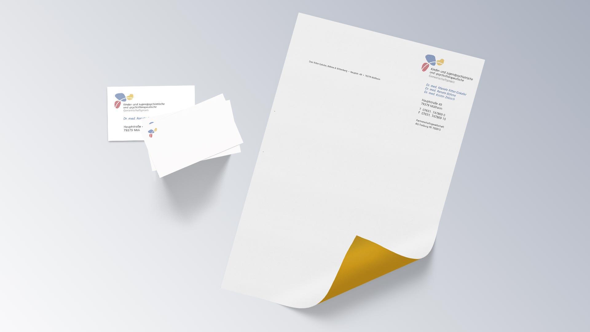 Kinder- und Jugendpsychiatrische und -psychotherapeutische Gemeinschaftspraxis Geschäftsausstattung Visitenkarte Briefbogen