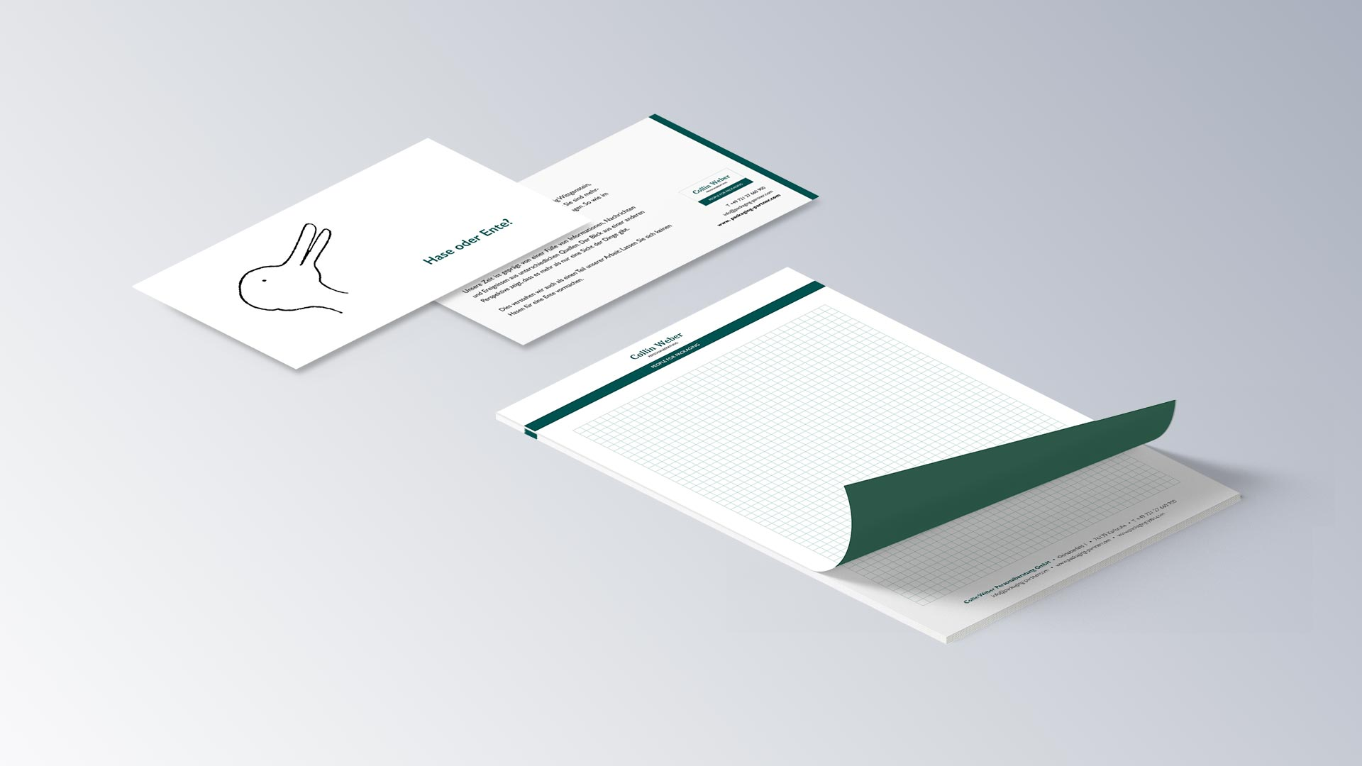 Collin Weber Personalberatung Karte Flyer Schreibblock Block
