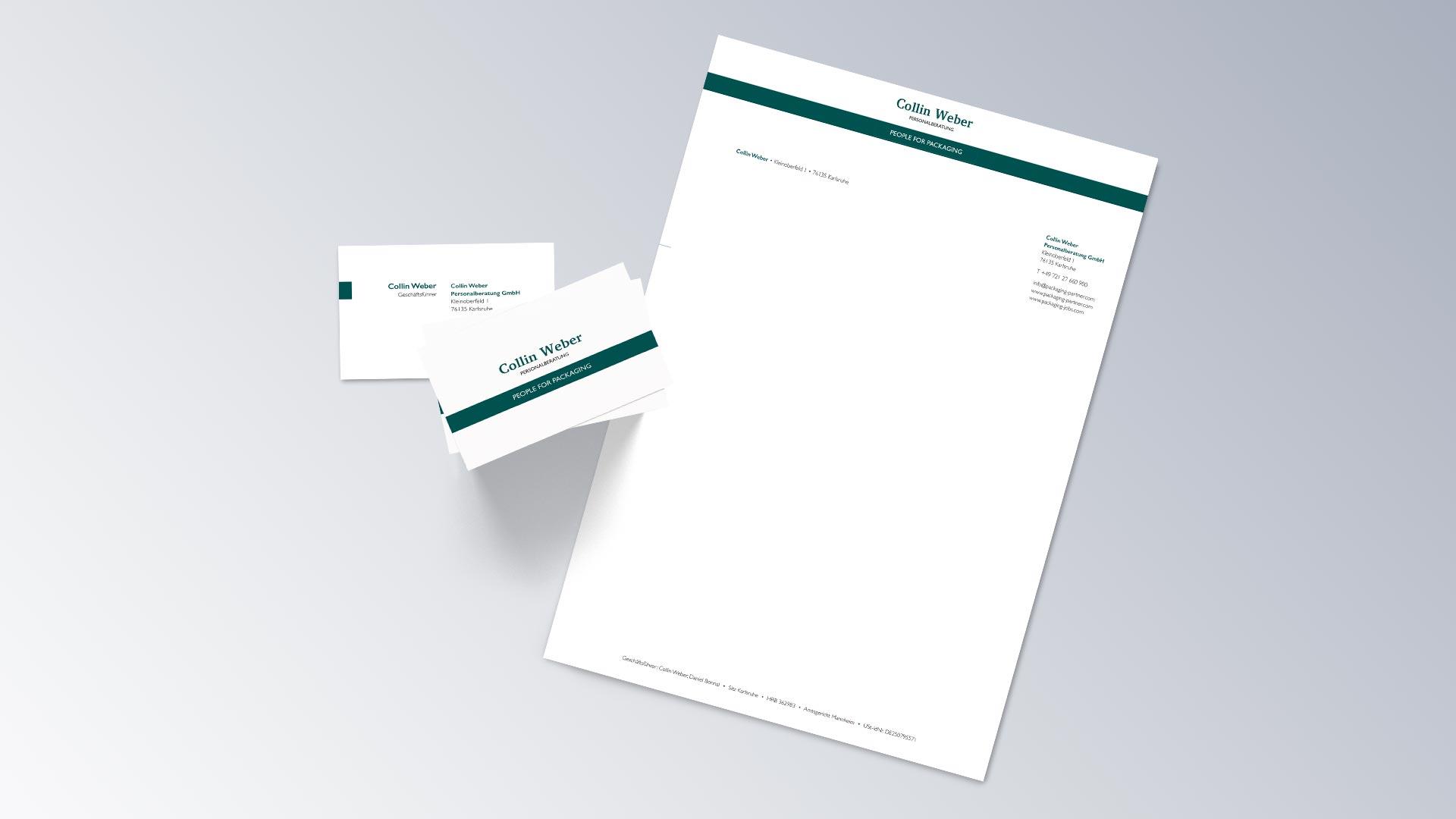 Collin Weber Personalberatung Geschäftsausstattung Visitenkarte Briefbogen