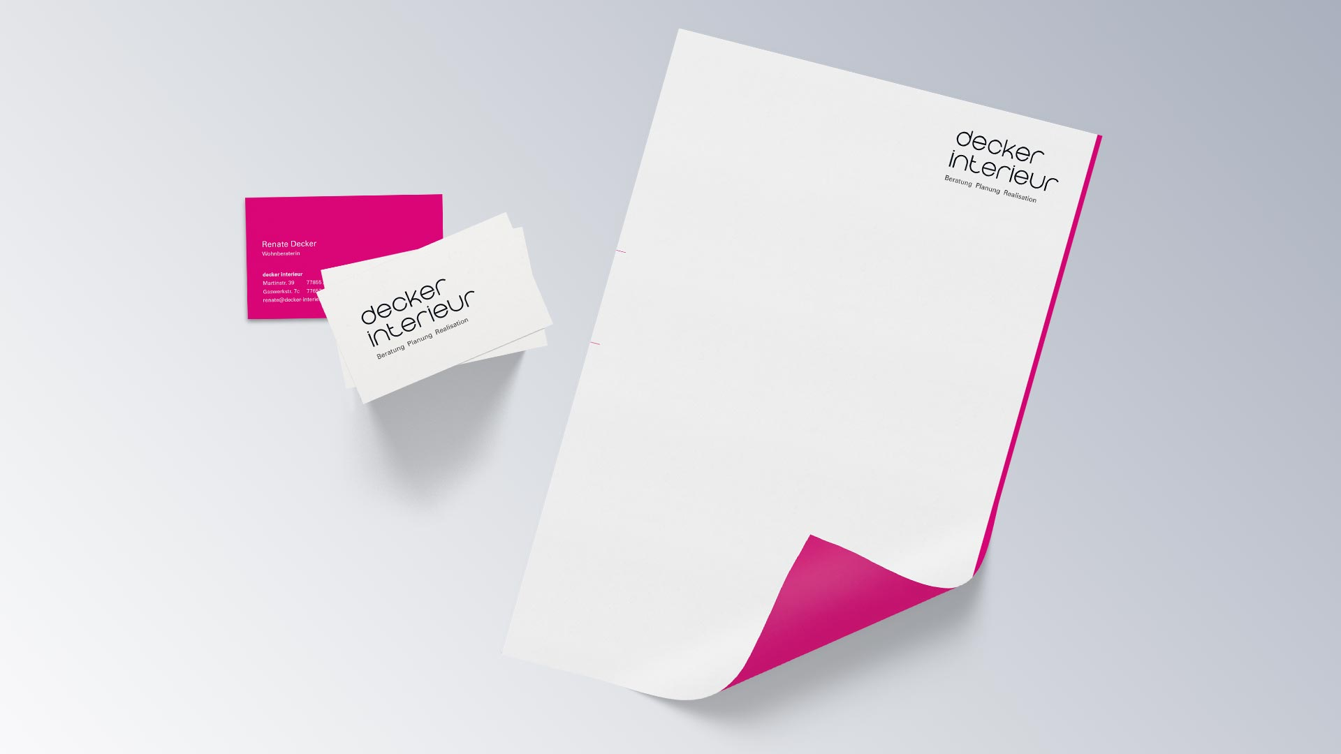 Decker Interieur Briefbogen Visitenkarte Geschäftsausstattung