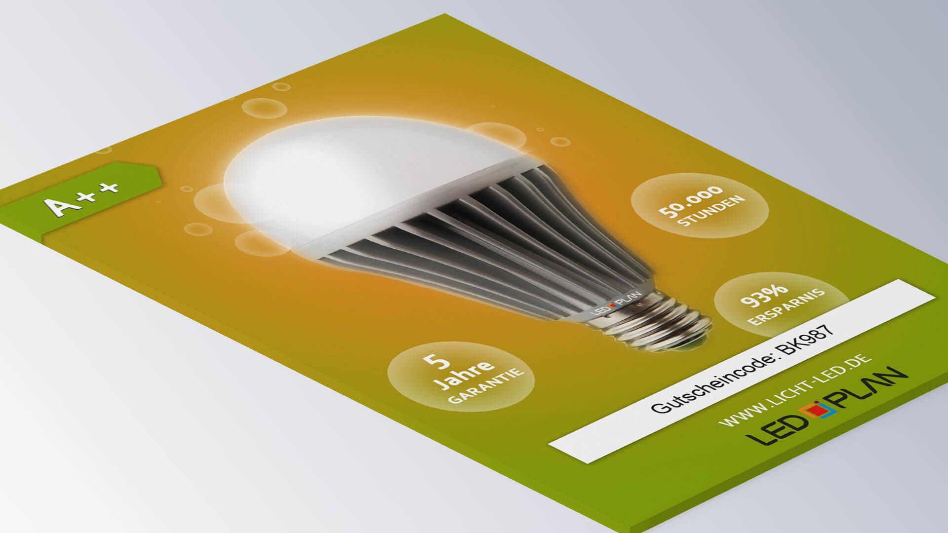 LED-Plan Leuchtmittel Gutschein Print Design