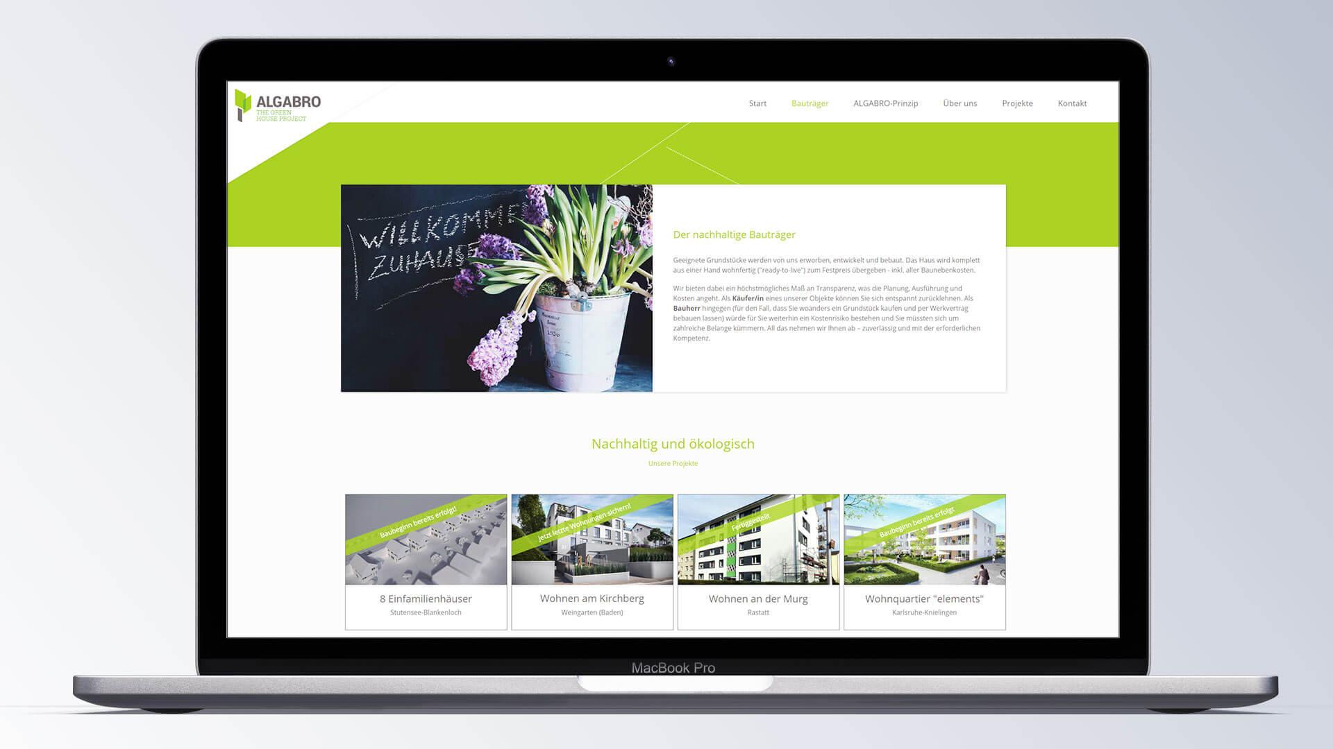 Algabro Bauträger Internetseite