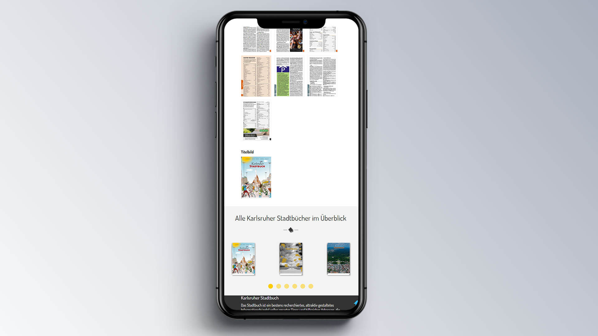 Karlsruher Stadtbuch Internetseite Mobil