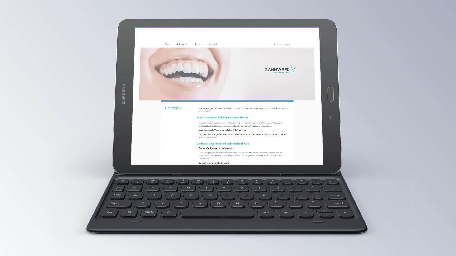 Zahnwerk Internetseite Mobilansicht