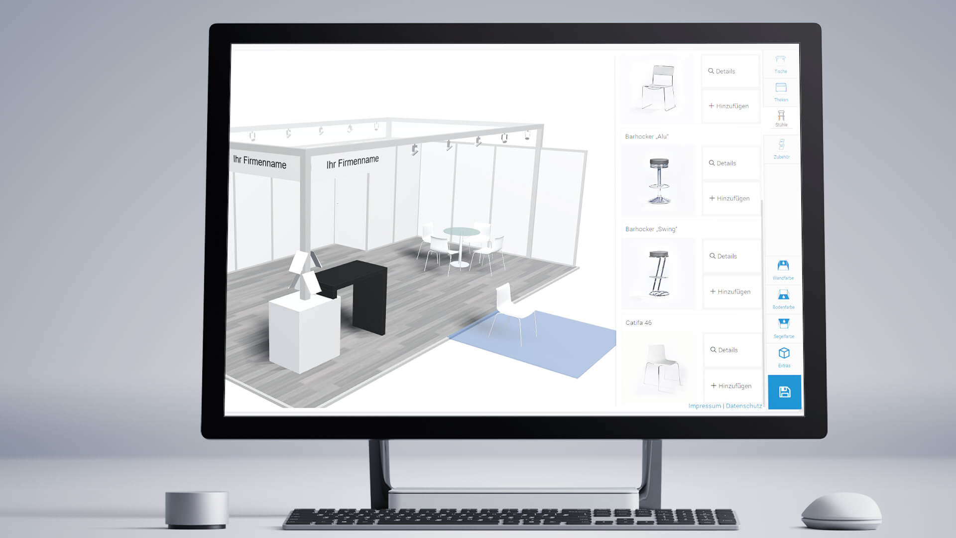 Ansicht Monitor 3D Messekonfigurator