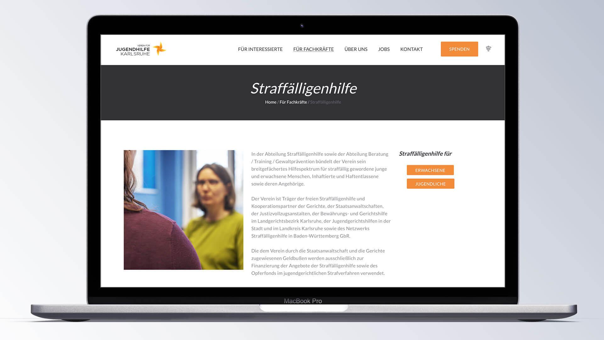 Verein für Jugendhilfe Karlsruhe e.V. Internetseite
