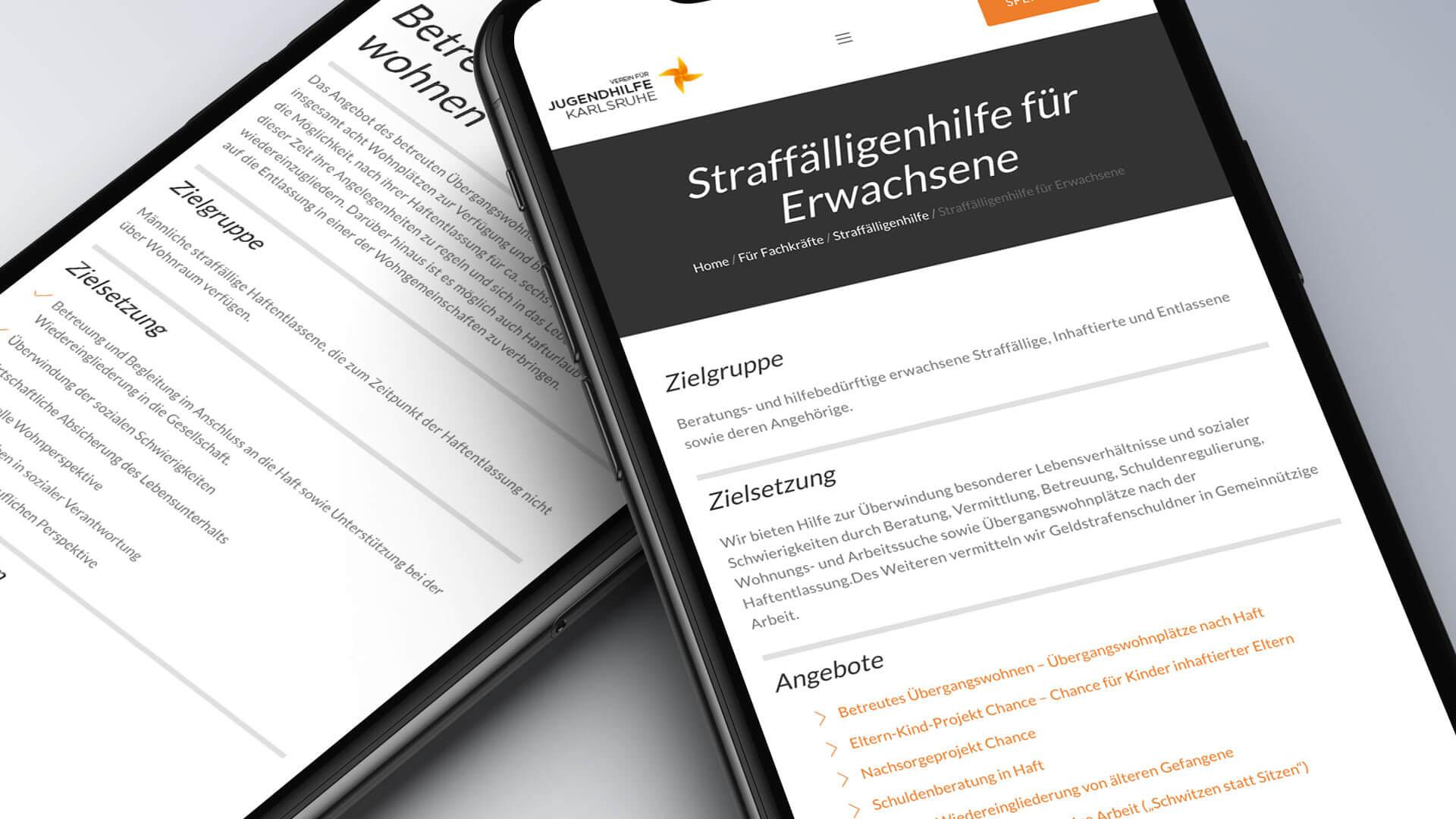 Verein für Jugendhilfe Karlsruhe e.V. Internetseite mobile Ansicht